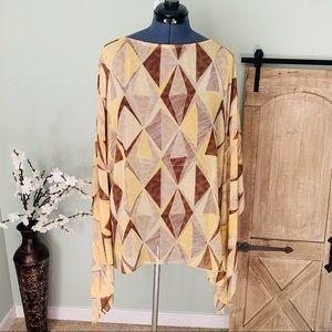 AshleyStewart Geo Print Dolman Sleeve Blouse 14/16